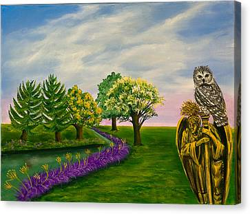 Canvas Print featuring the painting The Angel And The Owl by Susan Culver