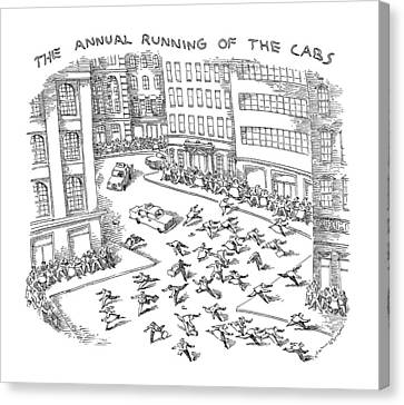 The Annual Running Of The Cabs Canvas Print by John O'Brien