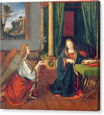 The Annunciation, 1506 Oil On Panel Canvas Print by Andrea Solario