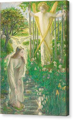 The Annunciation, 1855 Canvas Print by Dante Gabriel Charles Rossetti