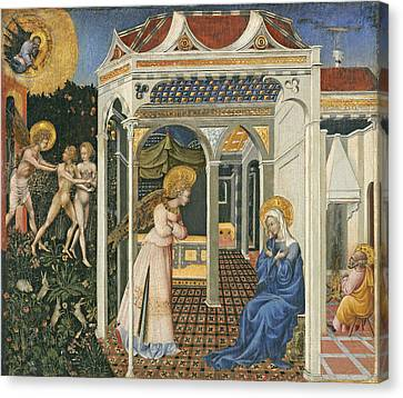 The Annunciation And Expulsion From Paradise Canvas Print by Giovanni di Paolo di Grazia