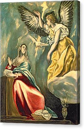 The Annunciation, C.1595-1600 Oil On Canvas Canvas Print by El Greco