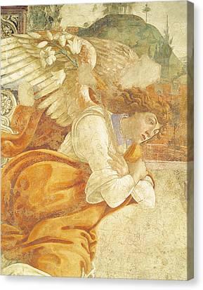 The Annunciation, Detail Of The Archangel Gabriel, From San Martino Della Scala, 1481 Fresco Canvas Print by Sandro Botticelli