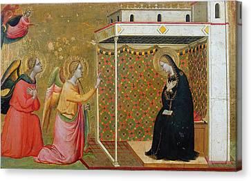 The Annunciation Oil On Panel Canvas Print by Bernardo Daddi