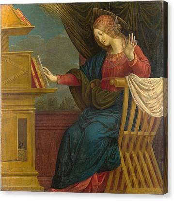 The Annunciation. The Virgin Mary Canvas Print by Gaudenzio Ferrari