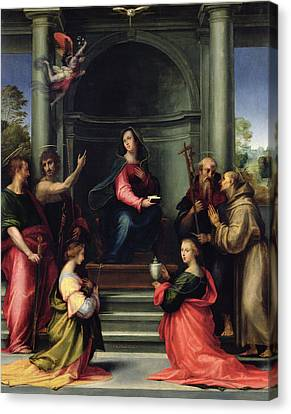 The Annunciation With Saints, 1515 Oil On Panel Canvas Print