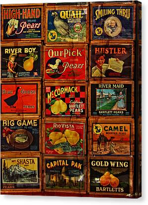 The Antique Fruit Boxes Canvas Print by Thom Zehrfeld