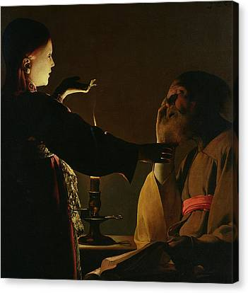 The Appearance Of The Angel To Saint Joseph Canvas Print by Georges de la Tour