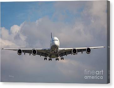 The Approach- Airbus A-380-800 Canvas Print by Rene Triay Photography
