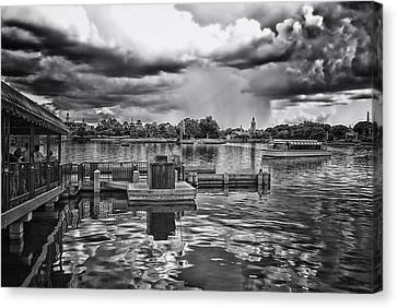 The Approaching Storm Walt Disney World Bw Canvas Print by Thomas Woolworth