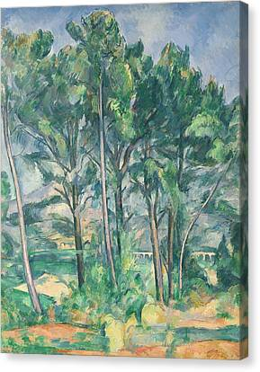 The Aqueduct Montagne Sainte-victoire Seen Through Trees, C.1885-87 Oil On Canvas Canvas Print by Paul Cezanne
