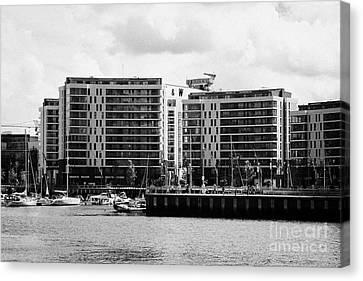 the arc apartments and Belfast harbour marina queens island titanic quarter Northern Ireland UK Canvas Print