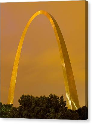 The Arch In The Glow Of St Louis City Lights At Night Canvas Print by Garry McMichael