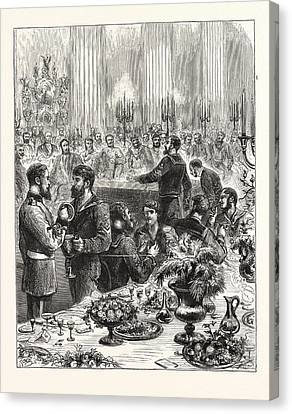 The Arctic Expedition, Banquet At The Mansion House Canvas Print by English School