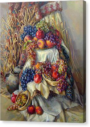 The Armenian Still Life With A Grapes And Pomegranates Canvas Print by Meruzhan Khachatryan