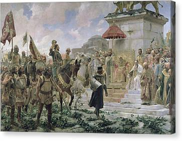 The Arrival Of Roger De Flor 1280-1307 In Constantinople In 1303 With 8000 Almogavares Serving Canvas Print