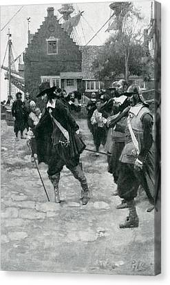 The Arrival Of Stuyvesant In New Amsterdam, Illustration From Colonies And Nation By Woodrow Canvas Print by Howard Pyle
