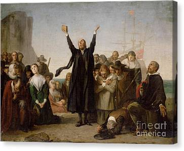 Pioneers Canvas Print - The Arrival Of The Pilgrim Fathers by Antonio Gisbert
