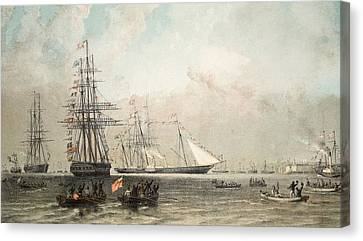Yachts Canvas Print - The Arrival Of The Royal Yacht by English School