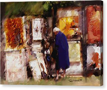 Canvas Print featuring the painting The Art Show by Ted Azriel