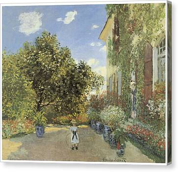 The Artist House At Argenteuil Canvas Print by Claude Monet
