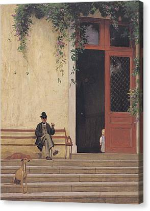 Greyhound Canvas Print - The Artist's Father And Son On The Doorstep Of His House by Jean Leon Gerome