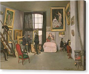 Staircase Canvas Print - The Artist's Studio by Jean Frederic Bazille
