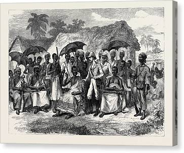 The Ashantee War A Conference With A Native King 1874 Canvas Print