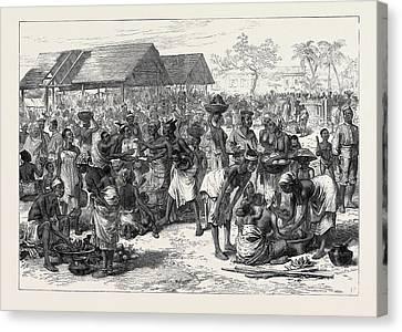 The Ashantee War General Market Cape Coast Castle 1874 Canvas Print