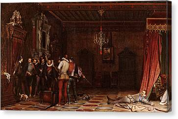 The Assassination Of The Duke Of Guise In Chateau De Blois Canvas Print by Paul Delaroche