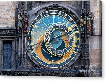 The Astronomical Clock In Prague Canvas Print by Michal Bednarek