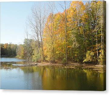 The Autumn Lake Canvas Print by Guy Ricketts