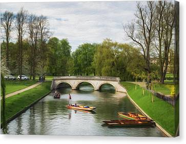 The Avenue Bridge Over River Cam In Front Of Trinity College Cambridge Digital Painting Canvas Print by Matthew Gibson