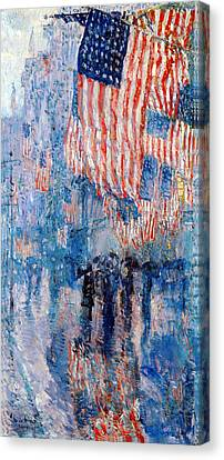 White Canvas Print - The Avenue In The Rain by Frederick Childe Hassam