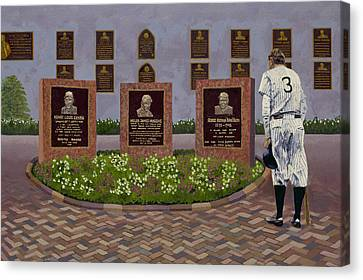 The Babe At Monument Park Canvas Print by Ron Gibbs
