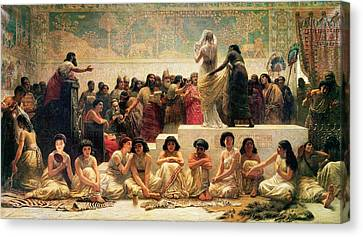 The Babylonian Marriage Market, 1875 Canvas Print