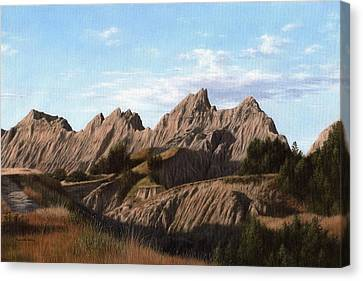 The Badlands In South Dakota Oil Painting Canvas Print by Rachel Stribbling