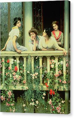 The Balcony Canvas Print by Eugen von Blaas