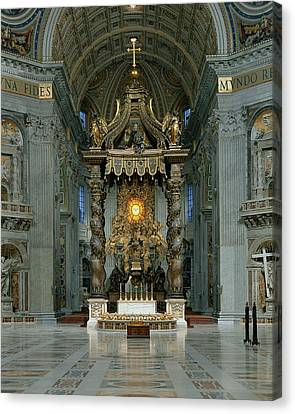 The Baldacchino, The High Altar And The Chair Of St. Peter Photo Canvas Print by Gian Lorenzo Bernini
