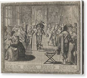 Ball Gown Canvas Print - The Ball, Interior With Elegant Company by Cornelis Danckerts Abraham Bosse