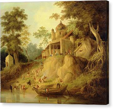 The Banks Of The Ganges, Attributed To William Daniell Canvas Print