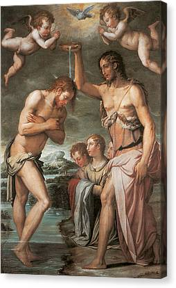 The Baptism Of Christ Canvas Print by Giorgio vasari