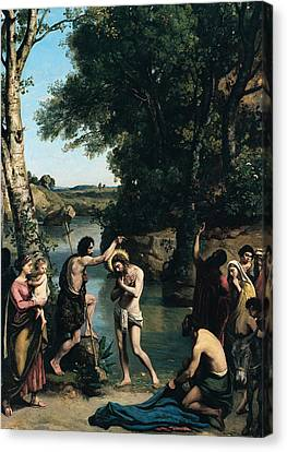 The Baptism Of Christ Canvas Print by Jean Baptiste Camille Corot