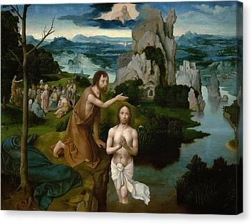 The Baptism Of Christ Canvas Print by Joachim Patinir