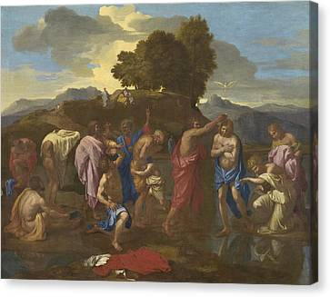 Baptising Canvas Print - The Baptism Of Christ by Nicolas Poussin