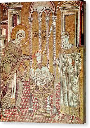 Baptising Canvas Print - The Baptism Of St. Paul By Ananias, From Scenes From The Life Of St. Paul Mosaic by Byzantine School