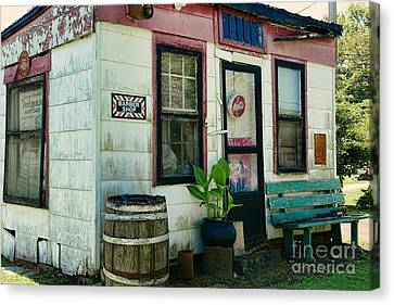 Rain Barrel Canvas Print - The Barber Shop From A Different Era by Paul Ward