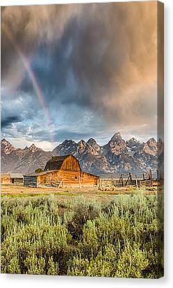 The Barn At The End Of The Rainbow Canvas Print by Andres Leon