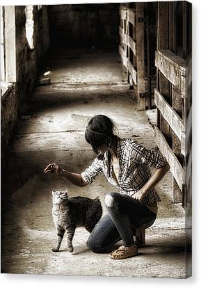 The Barn Cat Canvas Print by Ron  McGinnis