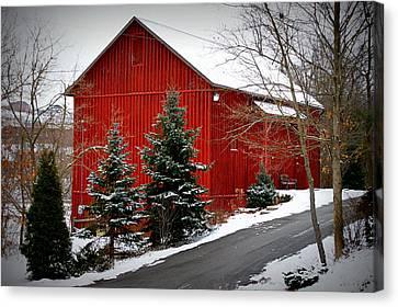 The Barn In Wintertime Canvas Print by Jeanne Geidel-Neal